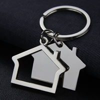 Key Chain, Zinc Alloy, with iron ring, House, platinum color plated, lead & cadmium free, 69x39mm, Hole:Approx 35mm, Sold By Strand