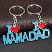 Key Chain, Zinc Alloy, with iron ring, Letter, platinum color plated, different designs for choice & enamel, lead & cadmium free, 90x42mm-90x49mm, Hole:Approx 35mm, Sold By Strand