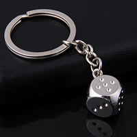 Key Chain, Zinc Alloy, with iron ring, Dice, platinum color plated, lead & cadmium free, 76x15mm, Hole:Approx 32mm, Sold By Strand