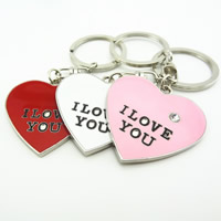 Key Chain, Zinc Alloy, with iron ring, Heart, word I love you, platinum color plated, enamel & with rhinestone, more colors for choice, lead & cadmium free, 42x42mm, Hole:Approx 32mm, Sold By PC