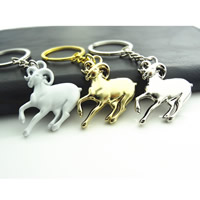 Key Chain, Zinc Alloy, with iron ring, Sheep, plated, with painted, more colors for choice, lead & cadmium free, 40x40mm, Hole:Approx 32mm, Sold By Strand