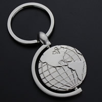 Key Chain, Zinc Alloy, with iron ring, Globe, platinum color plated, lead & cadmium free, 73x35mm, Hole:Approx 32mm, Sold By Strand