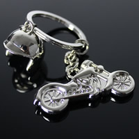 Key Chain, Zinc Alloy, with iron ring, Motorcycle, platinum color plated, lead & cadmium free, 46x23mm, Hole:Approx 32mm, Sold By Strand