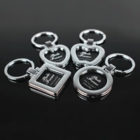 Key Chain Zinc Alloy with iron ring platinum color plated different styles for choice   with letter pattern lead   cadmium free 70x33mm-76x39mm Hole:Approx 32mm