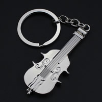 Key Chain Zinc Alloy with iron ring Violin platinum color plated lead   cadmium free 63x36x6mm Hole:Approx 32mm