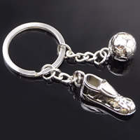 Key Chain Zinc Alloy with iron ring Football Boots platinum color plated lead   cadmium free 85x10mm Hole:Approx 32mm
