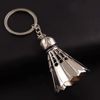 Key Chain Zinc Alloy with iron ring Badminton platinum color plated lead   cadmium free 109x39mm Hole:Approx 32mm