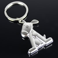 Key Chain Zinc Alloy with iron ring Dog platinum color plated lead   cadmium free 49x34x9mm Hole:Approx 32mm