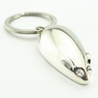 Key Chain Zinc Alloy with iron ring Mouse platinum color plated with rhinestone lead   cadmium free 37x21x12mm Hole:Approx 32mm