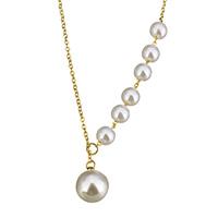 Ожерелья из стекла, нержавеющая сталь, с Стеклянный жемчуг, с 2lnch наполнитель цепи, Круглая, плакирован золотом, стиль лассо & Овальный цепь & Женский, 10mm, 6mm, 2mm, Продан через Приблизительно 17 дюймовый Strand
