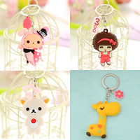 Key Chain Silicone with iron ring Cartoon different styles for choice 90mm