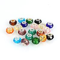 Кристальные бусины Европейская стиль, Кристаллы, Круглая форма, латунные Двухместный ядро без Тролль & граненый, смешанных цветов, 8.50x13.50x13.50mm, отверстие:Приблизительно 4.8mm, 100ПК/Лот, продается Лот