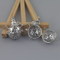Brass Locket Pendants Snowman platinum color plated hollow lead   cadmium free 33x45mm Hole:Approx 3-5mm