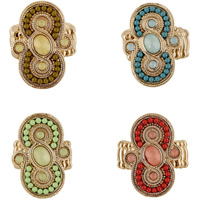 Кольца с кристаллами, цинковый сплав, с Кристаллы & Акрил, плакирован золотом, Женский & граненый, Много цветов для выбора, не содержит свинец и кадмий, 32mm, размер:7.5, продается PC