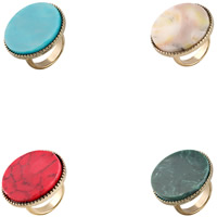 Resin Finger Ring Zinc Alloy with Resin gold color plated for woman lead   cadmium free 29mm US Ring Size:9