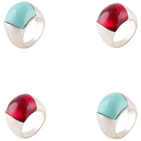 Resin Finger Ring Zinc Alloy with Resin platinum color plated for woman lead   cadmium free 17mm US Ring Size:9
