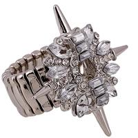 Кольца с кристаллами, цинковый сплав, с Кристаллы, Платиновое покрытие платиновым цвет, Женский & граненый & со стразами, не содержит свинец и кадмий, 18mm, размер:7.5, продается PC
