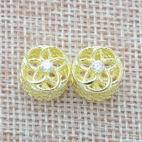 925 Sterling Silver European Beads Flower real gold plated without troll   with cubic zirconia   hollow Hole:Approx 4.5-5mm