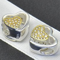 925 Sterling Silver European Beads, Heart, plated, without troll & with cubic zirconia & hollow, Hole:Approx 4.5-5mm, Sold By PC
