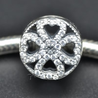 925 Sterling Silver European Beads Four Leaf Clover without troll   with cubic zirconia   hollow Hole:Approx 4.5-5mm