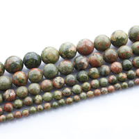 Natural Unakite Beads, Round, different size for choice, Sold Per Approx 15 Inch Strand