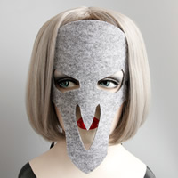Войлок Маска, с Сатиновая лента, Мужская & Хэллоуин ювелирные изделия, серый, не содержит никель, свинец, 200mm, 12ПК/Лот, продается Лот