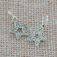 Thailand Sterling Silver European Pendant, Star, without troll & with cubic zirconia, Hole:Approx 4.5-5mm, Sold By PC