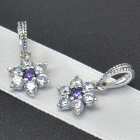 Thailand Sterling Silver European Pendant, Flower, without troll & with cubic zirconia, Hole:Approx 4.5-5mm, Sold By PC