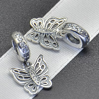 Thailand Sterling Silver European Pendant, Butterfly, without troll & with cubic zirconia, Hole:Approx 4.5-5mm, Sold By PC