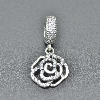 Thailand Sterling Silver European Pendant, Flower, without troll & with cubic zirconia & hollow, Hole:Approx 4.5-5mm, Sold By PC