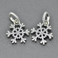 Thailand Sterling Silver European Pendant, Snowflake, Christmas jewelry & without troll & with cubic zirconia, Hole:Approx 4.5-5mm, Sold By PC