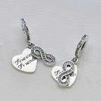Thailand Sterling Silver European Pendant, Heart, with letter pattern & without troll & with cubic zirconia, Hole:Approx 4.5-5mm, Sold By PC