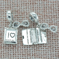 Thailand Sterling Silver European Pendant, Book, with letter pattern & without troll, Hole:Approx 4.5-5mm, Sold By PC