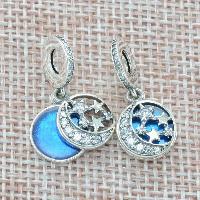 Thailand Sterling Silver European Pendant, Flat Round, with star pattern & without troll, Hole:Approx 4.5-5mm, Sold By PC