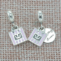 Thailand Sterling Silver European Pendant, with letter pattern & without troll & enamel, Hole:Approx 4.5-5mm, Sold By PC