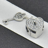 Thailand Sterling Silver European Pendant, heart and key, without troll & with cubic zirconia, Hole:Approx 4.5-5mm, Sold By PC