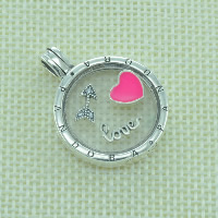Thailand Sterling Silver European Prayer Box Pendant, with Glass, Flat Round, word love, with letter pattern & enamel & with cubic zirconia, Hole:Approx 4.5-5mm, Sold By PC