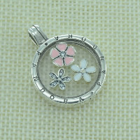Thailand Sterling Silver European Prayer Box Pendant, with Glass, Flat Round, with letter pattern & enamel & with cubic zirconia, Hole:Approx 4.5-5mm, Sold By PC