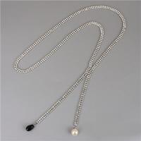 Модные ожерелья, Кристаллы, с Кристаллы & Стеклянный жемчуг, Платиновое покрытие платиновым цвет, Женский, не содержит никель, свинец, Продан через Приблизительно 20 дюймовый Strand