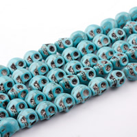 Turquoise Beads, Skull, different size for choice, green, Length:Approx 15.5 Inch, Approx 2Strands/Bag, Sold By Bag