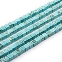 Synteettinen Turkoosi Helmi, Neliö, erikokoisia valinnalle, vihreä, Pituus:N. 15.5 tuuma, N. 2säikeet/laukku, Myymät laukku