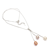 Srebrny naszyjnik z perłami, Perła naturalna słodkowodna, ze Srebro łańcucha, Łezka, Naturalne, wąż łańcucha, wielokolorowy, 7-8mm, sprzedawane na około 17 cal Strand