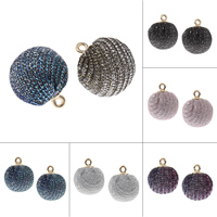 Rhinestone Pendant, Rhinestone Clay Pave, with zinc alloy bail, Round, gold color plated, more colors for choice, 15x18mm, Hole:Approx 1.5mm, 200PCs/Bag, Sold By Bag