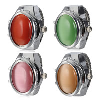 Zinc Alloy Finger Ring Watch, with Cats Eye & Glass, platinum color plated, Unisex, more colors for choice, nickel, lead & cadmium free, 22x23x10mm, US Ring Size:6-8, 2PCs/Lot, Sold By Lot