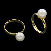 Железо Открыть палец кольцо, с ABS пластик жемчужина, плакирован золотом, регулируемый & Женский, не содержит свинец и кадмий, 18x26x8mm, размер:4.5, 100ПК/сумка, продается сумка