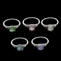 Cats Eye Finger Ring Zinc Alloy with Cats Eye silver color plated for woman mixed colors lead   cadmium free 20x22x7mm US Ring Size:6.5 100PCs/Bag