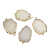 Dragon Veins Agate Connector with Zinc Alloy gold color plated 1/1 loop white 48x30x6-50x31x7mm Hole:Approx 2mm