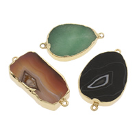 Lace Agate Connector with Zinc Alloy gold color plated 1/1 loop mixed colors 47x28x6-51x32x8mm Hole:Approx 2mm 2PCs/Bag