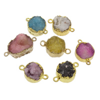Ice Quartz Agate Connector with Zinc Alloy Flat Round gold color plated druzy style   1/1 loop mixed colors 27x17x18-30x18x19mm Hole:Approx 1mm Approx 2PCs/Bag
