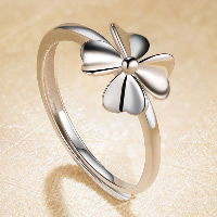 925 Sterling Silver Open Finger Ring Four Leaf Clover adjustable   for woman 10x10mm US Ring Size:7